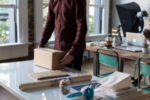 Man using a packing box